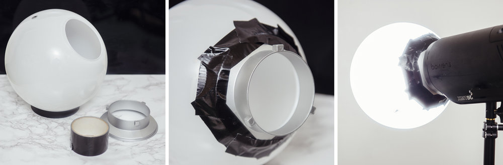 The large dome was taped snugly onto an old speed-ring which enabled me to attach it to my light horizontally if needed.