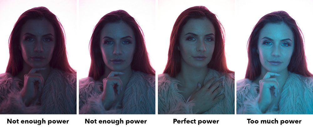 The perfect power for the front light is a little more arbitrary based on the colour you're using but essentially you want just enough to light the face but not so much that it looses the shadow details.