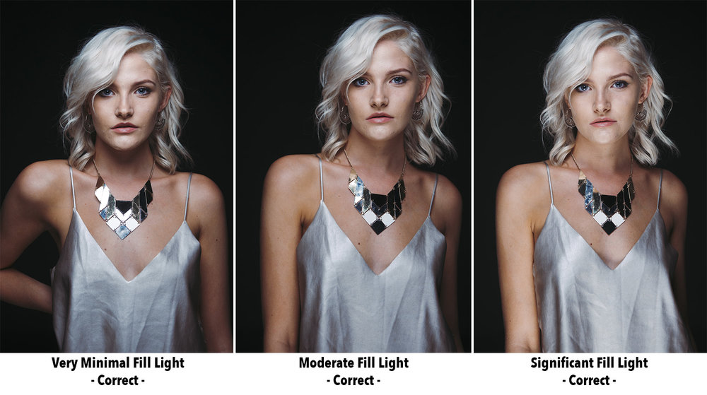 In the images above we can see an example of 'subjective lighting'. Here we can see varying powers of light being applied to the fill light below our model. It's important to point out about subjective lighting that there is no incorrect value, having a lot of fill light is just as acceptable as not much fill light. It's your creative decision on how much light you want in the shot, it is purely subjective.