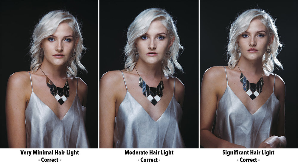 Here is another set of examples of 'subjective lighting'. In each of these shots we can see varying powers of light being used on our hair lights, none of them are either right or wrong as they are all viable options based on the look you're going for. This is subjective lighting.