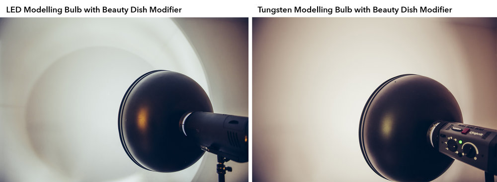 On the left we have an LED modelling lamp with a beauty dish reflector. You should see that resulting light casts some odd shadows onto our wall due to the incredibly small and harsh nature of the tiny LED lamp. On the right we have a tungsten modelling bulb and the resulting light shadow if far smoother. In fact its appearance is almost identical to that of the strobe flash.
