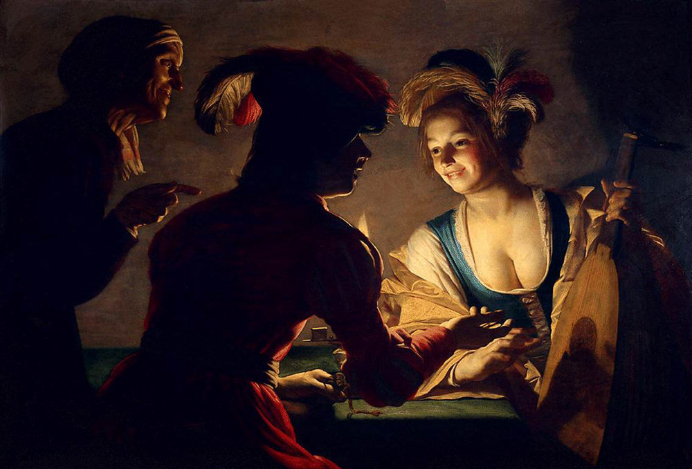Click to enlarge - 'Matchmaker' by  Gerard van Honthorst  in 1625