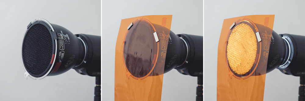 With the right size clips, you can even use the same method to attach gels with the grids in place too.