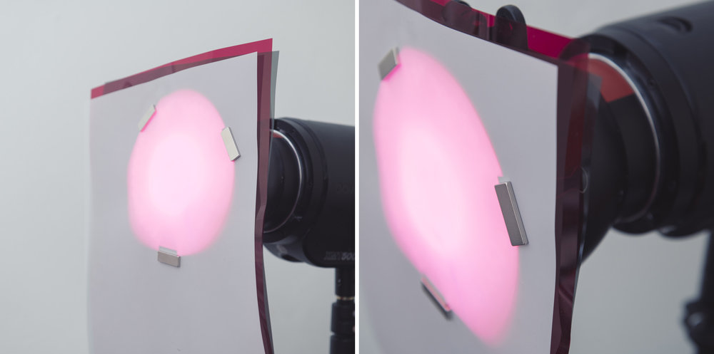 In fact this method of attaching gels is so strong, you can use it to stack multiple gels on the same modifier. Using this clip and magnet trick you can hold an ND gel, a regular gel and a diffusion gel all on the same dish with ease. Attaching multiple gels in this way with tape was a real pain in the past.