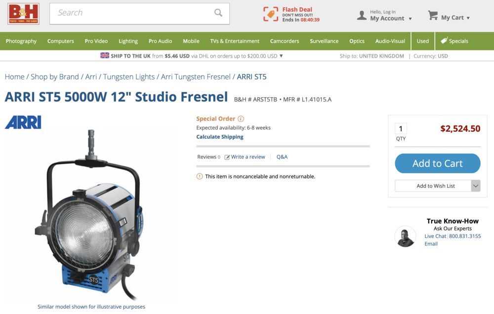 Here we have a 5000w tungsten head for $2524