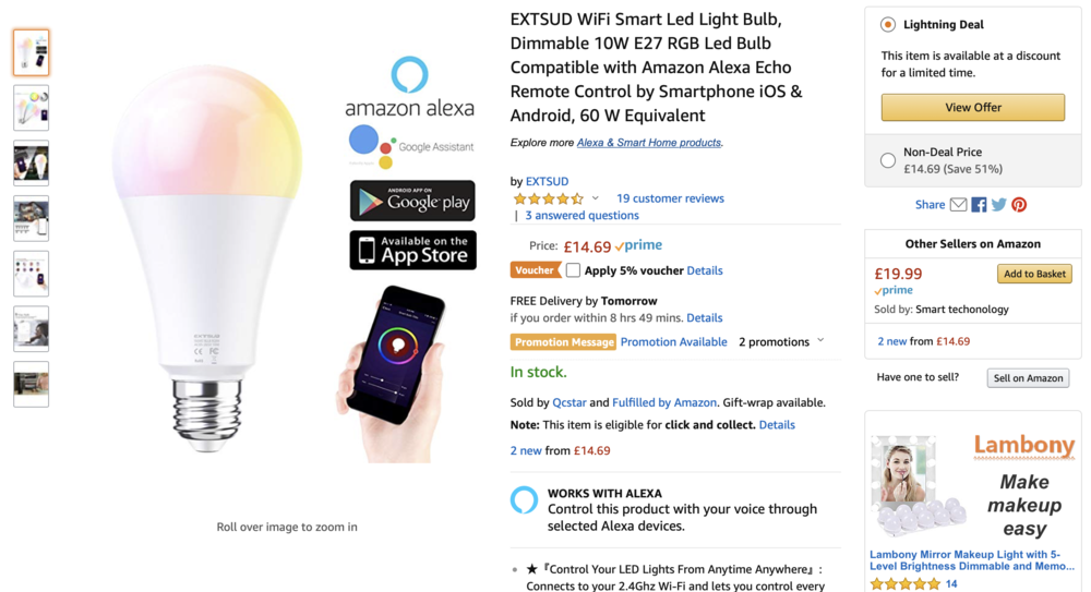 LED Smart 10w bulb - Remember that you dont need anything else for this to work, but you will need a smart device, and access to WiFi to make changes to the bulb. You'll also need to download the free app to access the bulb interface.