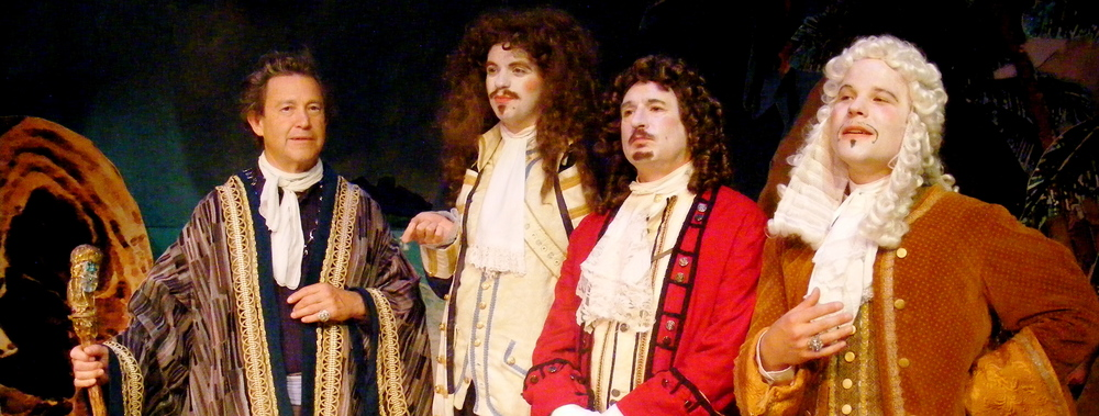 Prospero (Ron Siebert) is reunited with the men who set him out to sea (left to right: Connor McCanlus, Marc Epstein and Andrew Miller).