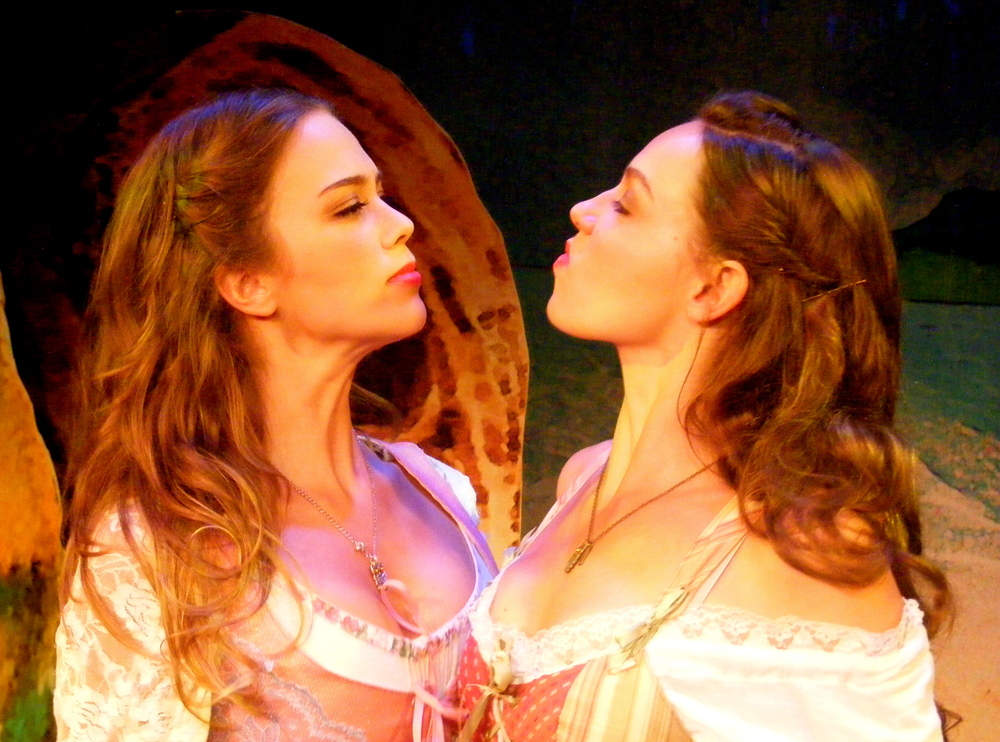Face-off between sisters Miranda (Colleen Pulawski) and Dorinda (Claire Chapelli).