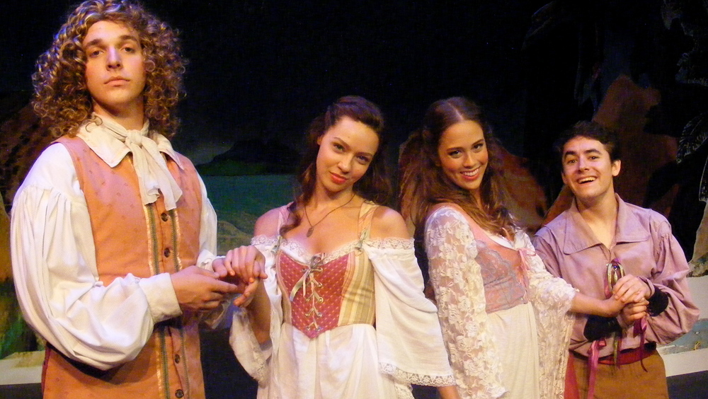 The lovers pair off: Ferdinand & Miranda, Dorinda & Hippolito (left to right: Nicholas Browne, Colleen Pulawski, Claire Chapelli and Nick Benninger).