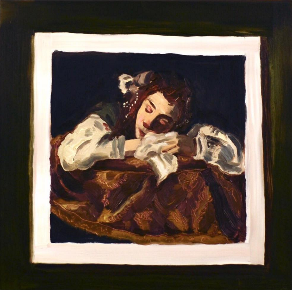 Postcard of a sleeping girl (after an unidentified painter active in Rome c. 1615)