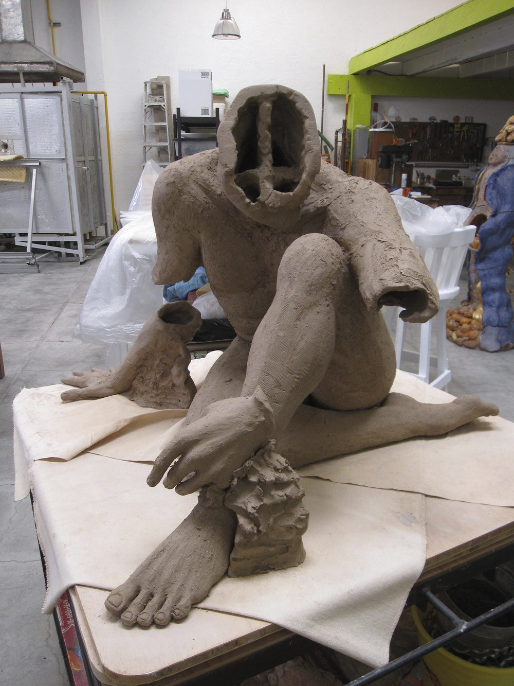 construction of life-size male figure in process -  Carmen Jimenez