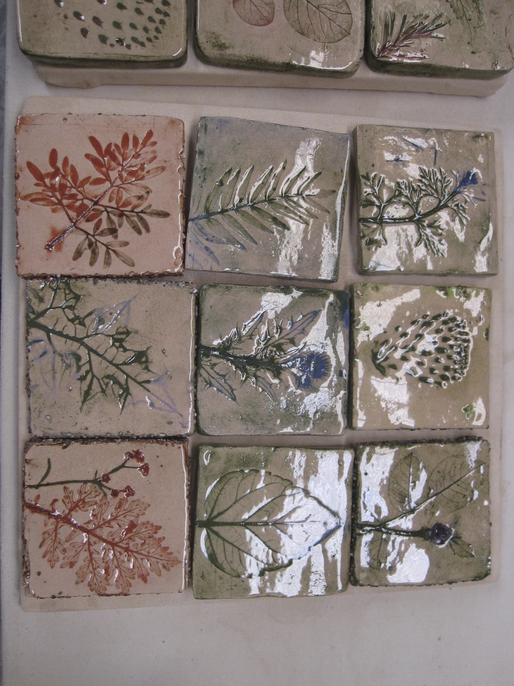 plant impressions - tiles - Kathryn Purse