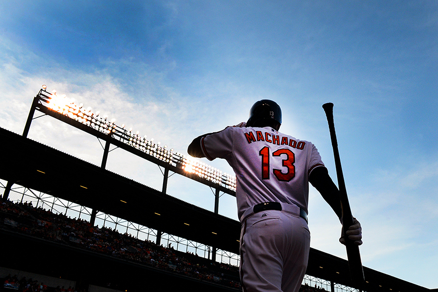 Baltimore Orioles third baseman Manny Machado prepares for an at-bat during a win over the Houston Astros.