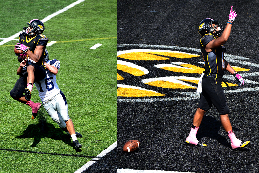 Towson University wide-receiver Spencer Wilkens catches a 21-yard touchdown pass in their win over University of New Hampshire on Oct. 5, 2013 in Baltimore, Md.