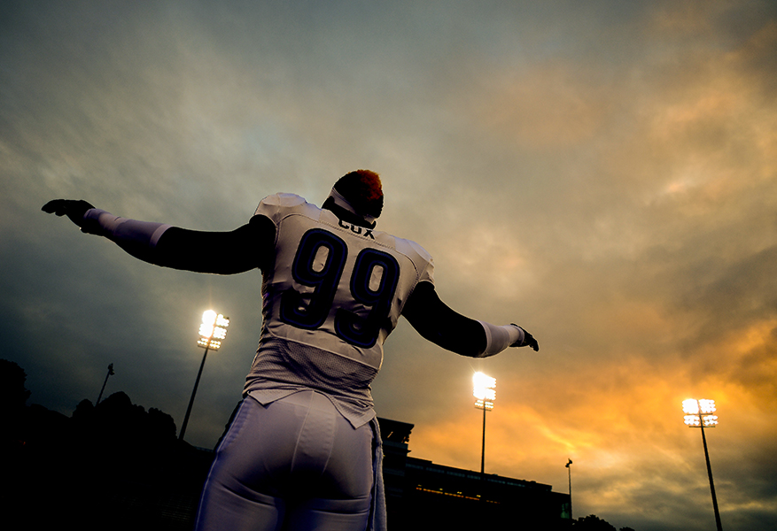 Villanova defensive lineman Rakim Cox warms up before a game on October 12, 2013 in Baltimore, Md.