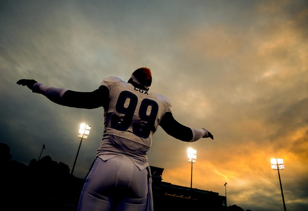 Villanova University defensive lineman Rakim Cox warms up before a game on Oct. 12, 2013 in Baltimore, Md.