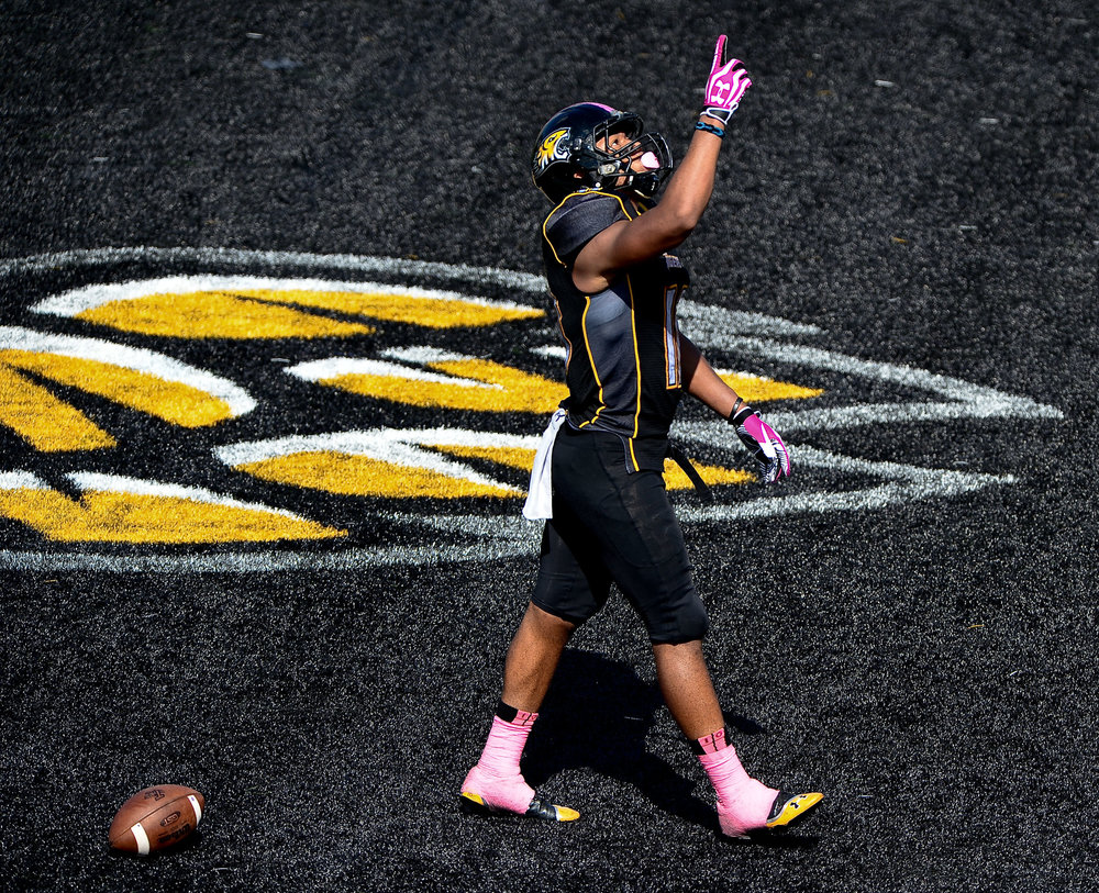 Towson University wide-receiver Spencer Wilkens celebrates after a 21-yard touchdown reception in their win over University of New Hampshire on Oct. 5, 2013 in Baltimore, Md.