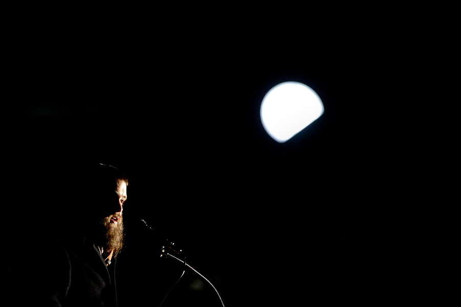 Rabbi Mendy Rivkin shares words about Gilad Nissim at a candlelit vigil on the campus of Towson University on Nov. 20, 2013. Gilad, a Towson University student, recently died due to health complications.