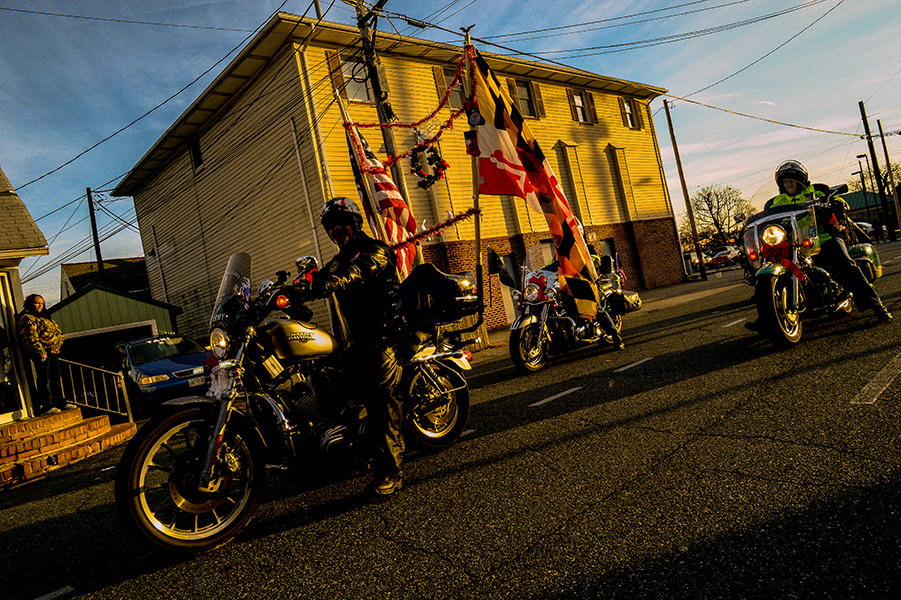 The American Legion Riders finish up the Christmas Street Parade in Aberdeen, Md. on Dec. 7, 2013.