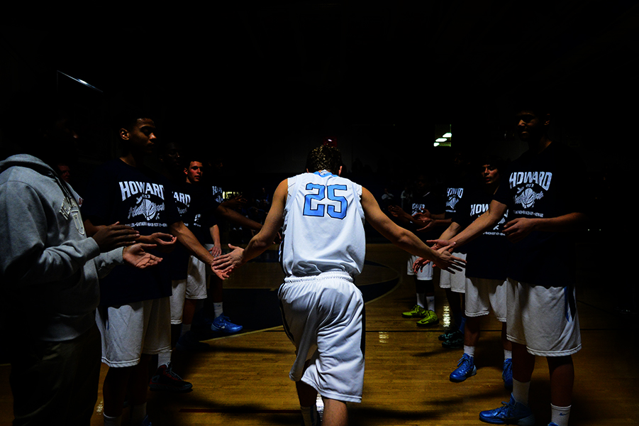 Guard Clay Bartnik of Howard High School is introduced before its game against Chopticon High School at Howard High School on Dec. 27, 2013.