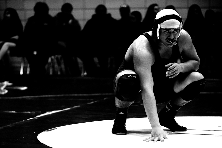 Ronaldo Bonilla of Laurel High School waits for the official during a 285 pound weight bout match against Dominiq Stewart, not pictured, of High Point High School on Jan. 8, 2014 in Beltsville, Md.
