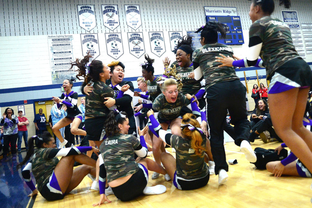 Long Reach erupts into celebration after placing third in the Howard County Winter Cheerleading Championships.