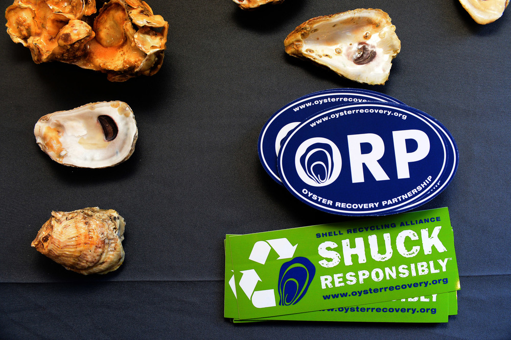 Oyster Recovery Partnership displays different oyster shells and stickers on a table.