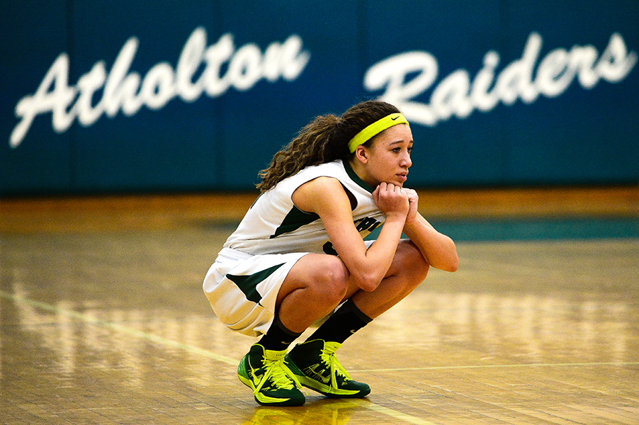 Atholton's Chelsea Mitchell watches her team try and recover in the last few seconds of double overtime during the Maryland 3A East Regional Championship on March 8, 2014 in Columbia, Md.