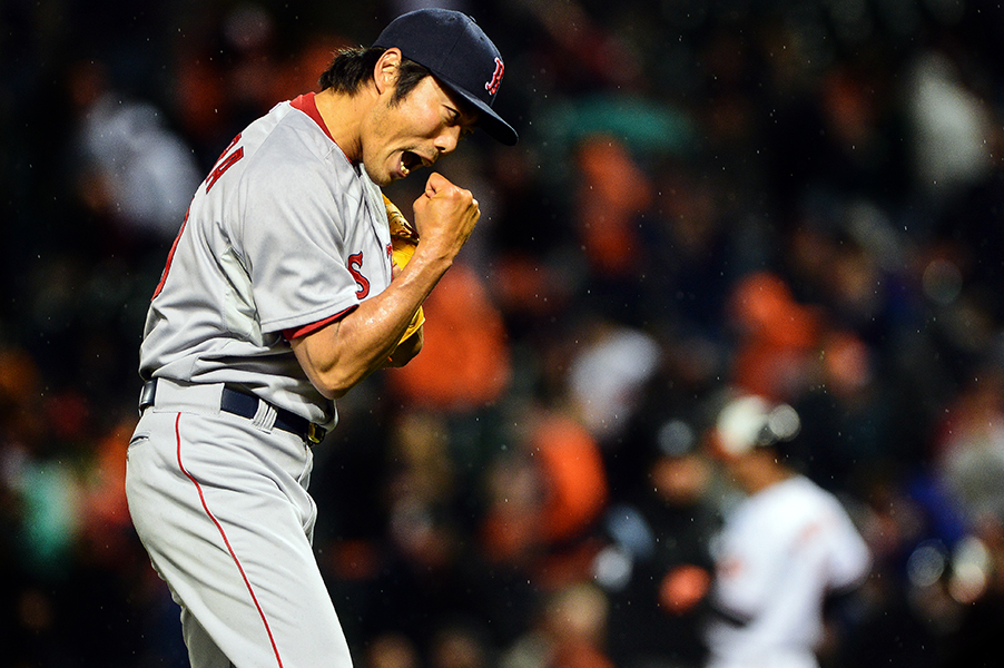Boston Red Sox pitcher Koji Uehara reacts after throwing the last pitch during a win over the Baltimore Orioles at Oriole Park at Camden Yards in Baltimore, Md. on April 3, 2014.