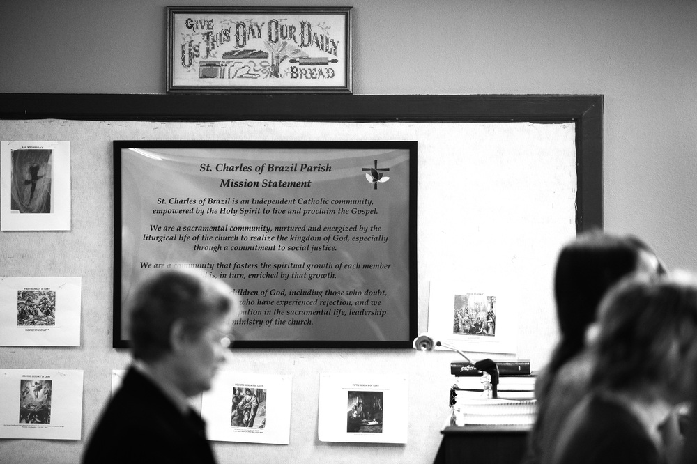 The Mission Statement is displayed on the wall during the fifth Sunday of Lent service at Saint Charles of Brazil Parish on April 6, 2014 in Arbutus, Maryland.