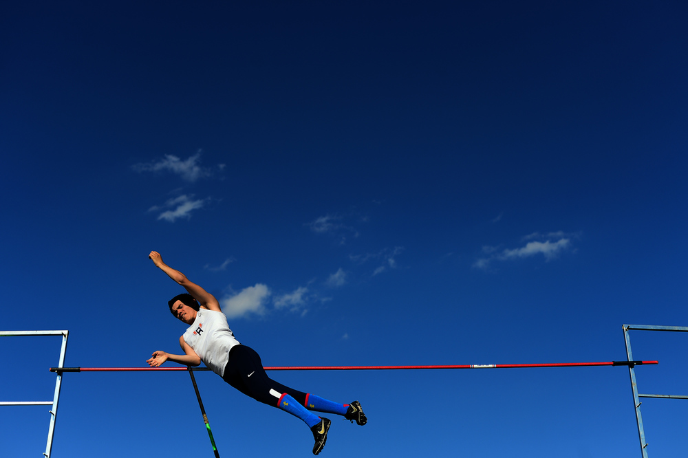 Reservoir's Dan Larkin competes in the pole vault event during the Howard County Outdoor Track and Field Championships in Columbia Maryland on May 6, 2014. Larkin went on to finish eight overall in the event.