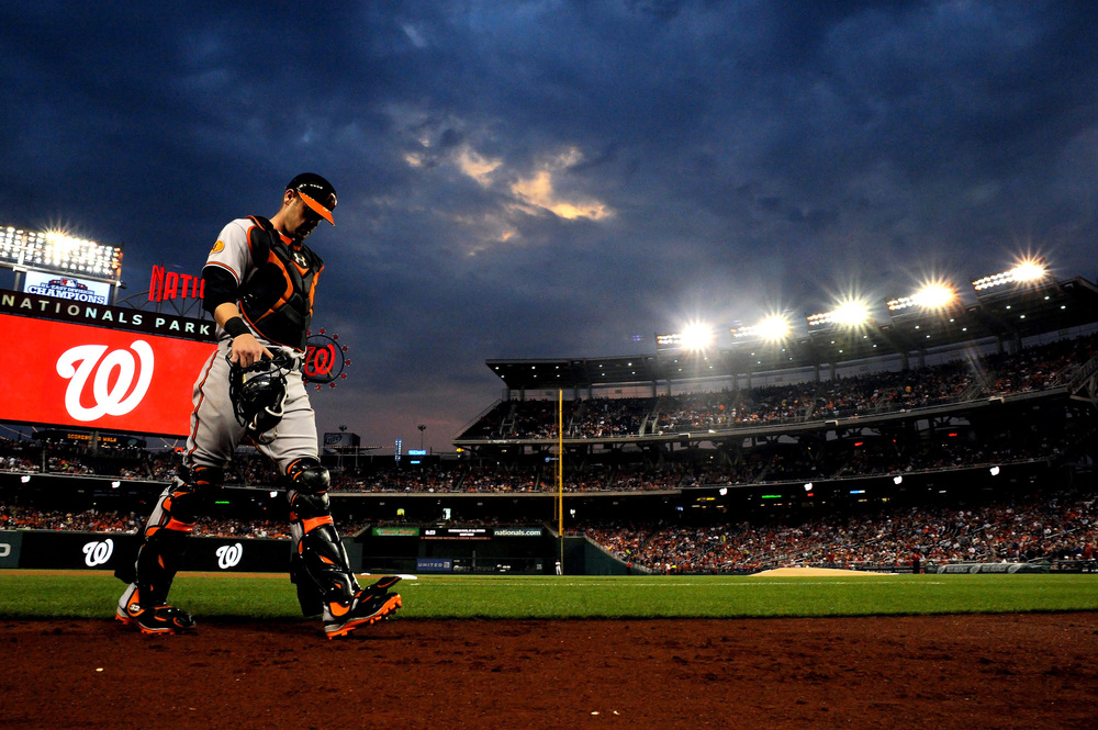 Baltimore Orioles catcher Matt Wieters walks off the field during game against the Washington Nationals at National Park on June 29, 2013 in Washington, D.C.