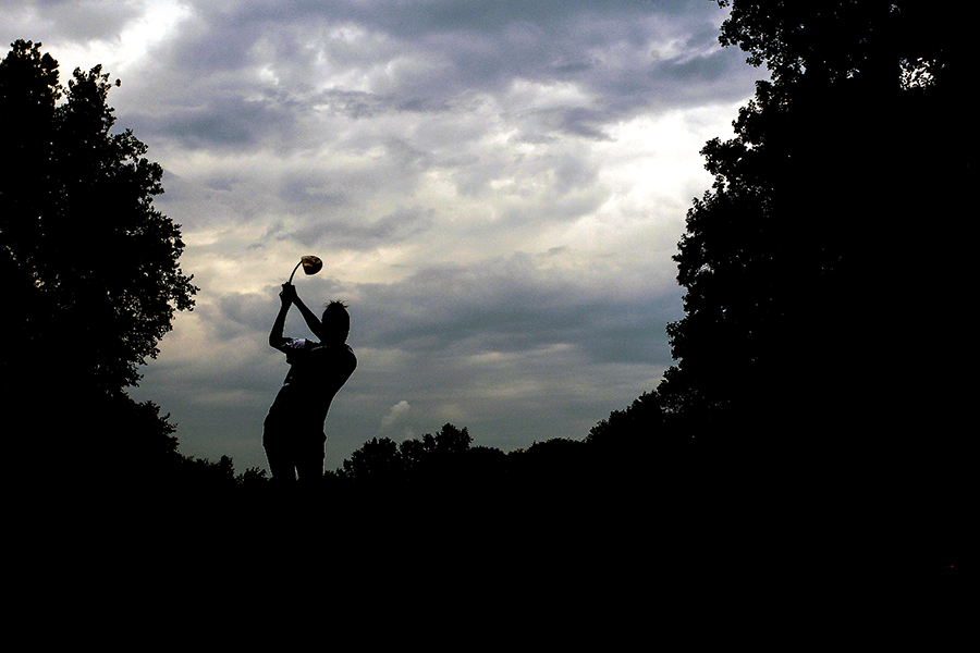 Maddie Fields of Atholton tees off at hole 3 during a golf match between Atholton and Mt. Hebron at Hobbit's Glen Golf Course in Columbia, Maryland on August 21, 2014.