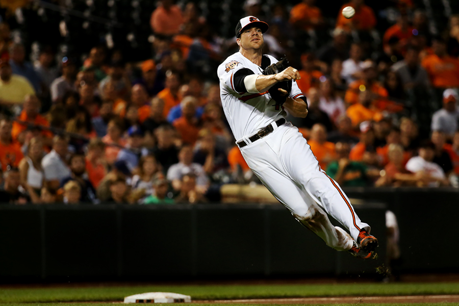Baltimore Orioles third baseman Chris Davis makes the throw to first during a MLB game against the Tampa Bay Rays at Oriole Park at Camden Yards on August 26, 2014 in Baltimore, Maryland.