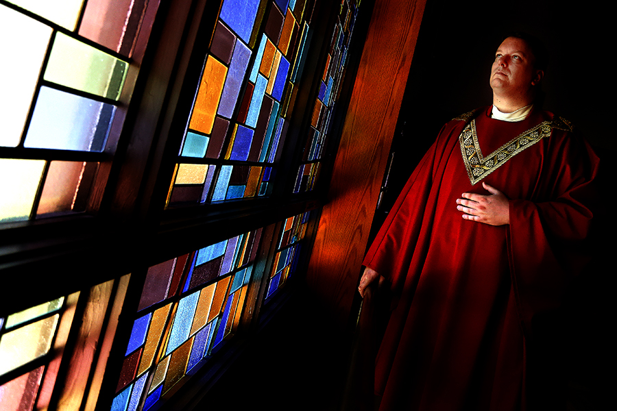 Rev. Mark Bialek of Laurel poses for a photo at Resurrection of Our Lord Roman Catholic Church in Laurel, Maryland on August 29, 2014.