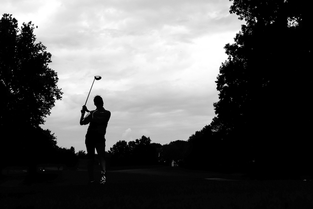 Maddie Fields of Atholton High School tees off at hole 3 during a golf match between Atholton and Mt. Hebron at Hobbit's Glen Golf Course in Columbia, Maryland on August 21, 2014.