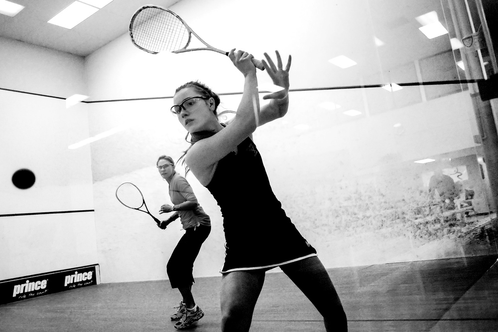 McDonogh sophomore Eleonore Evans, right of Ruxton plays against her trainer Lissen Tutrone at Meadow Mill Athletic Club. Evans who is currently ranked second in girls under 17 US Squash is training for US Junior Nationals, international play in Europe, World Junior US team and college.