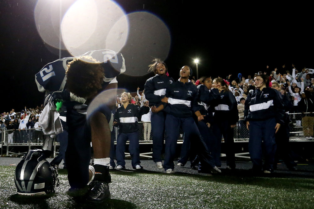 Cameron Hooper of Howard High School reacts in the last few seconds of a football game against Long Reach at Howard High School in Ellicott City, Maryland. on Friday, October 21, 2016.