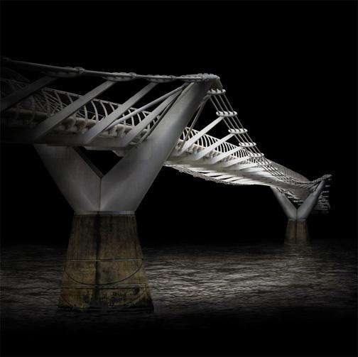 "London  Millenium Bridge, 2007 - D-print on rag paper  39.3"" x 39.3"" (100 x 100 cm)"