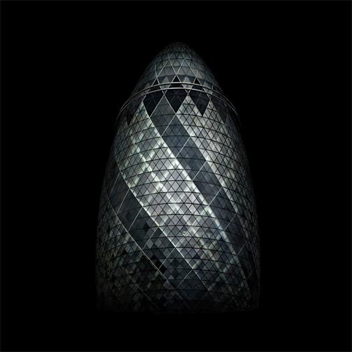 "London  Norman Foster Building (""the gherkin""), 2007 - D-print on rag paper  39.3"" x 39.3"" (100 x 100 cm)"