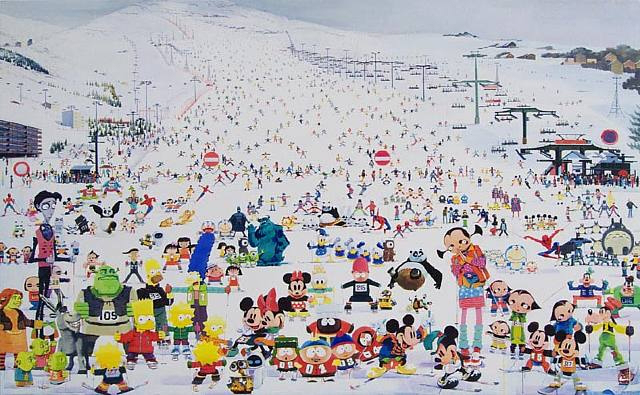 Skiing Park No. 2 , 2010  Acrylic on canvas, 47 1/4 x 86 5/8 inches (120 x 220 cm)