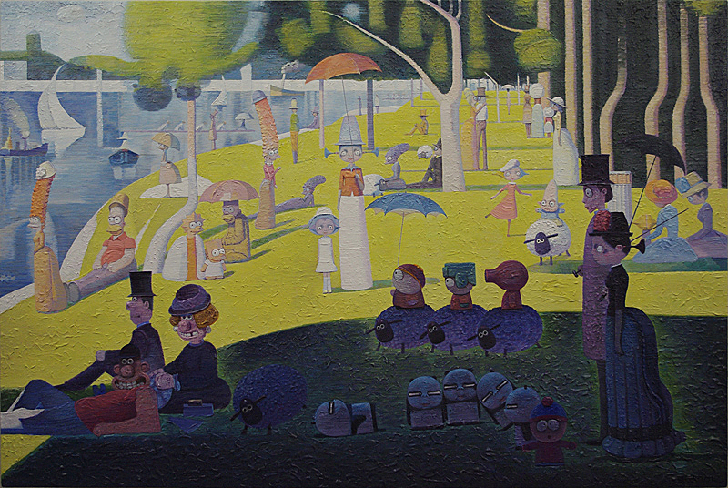 Gathering in La Grande Jatte , 2012  Acrylic on canvas, 31 1/2 x 47 1/4 inches (80 x 120 cm)