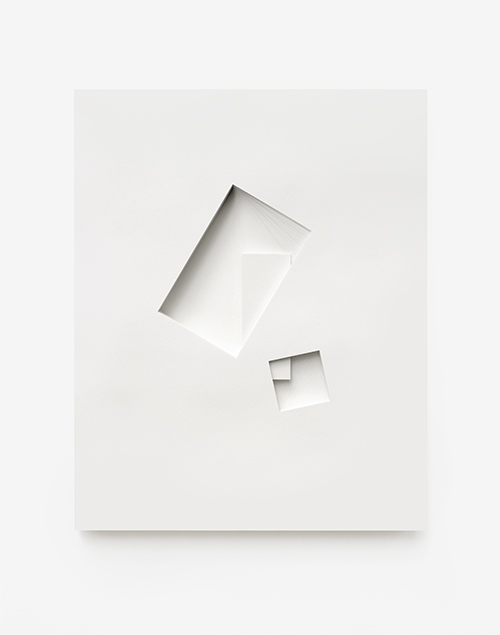 Comparative form in white  (Shared prism, CCW), 2013  Paper  26 x 32.5 x 3 cm