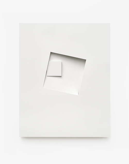 Comparative form in white  (Squares, CCW), 2013  Paper  26 x 32.5 x 3 cm