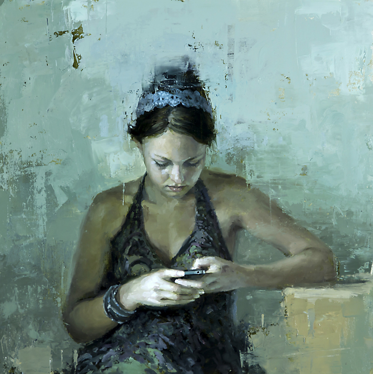 Still Moment in Teal - 21 x 21 in. Oil on Panel 2012