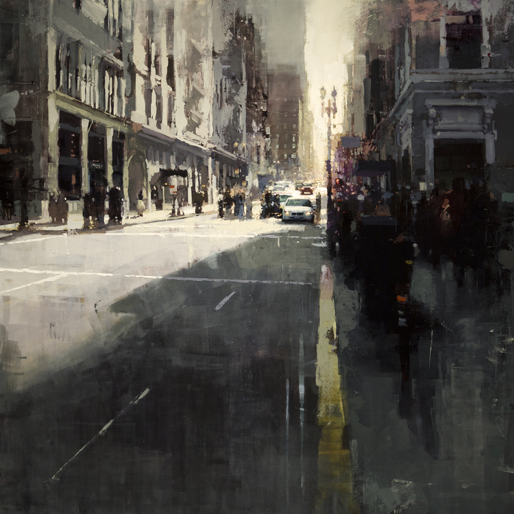 "Sunset by Union Square"" - 36 x 36 in., Oil on Panel"