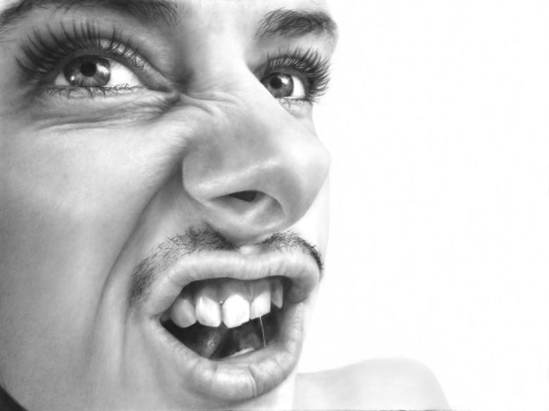 "Crowd Pleaser (Self Portrait with Mustache), graphite on paper, 38 "" x 50 """