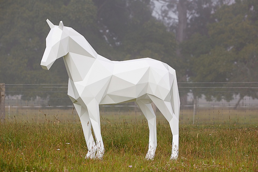 the White Horse, 2013 Aluminium, epoxy automotive paint 2500 x 2100 x 800mm