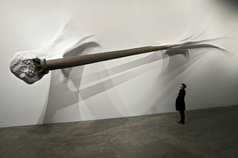 Whip Lash - 420 x 1370 x 200 cm - polymer-gypsum, rust paint, wall paint, graphite - 2010, Installation at Smack Mellon, Brooklyn