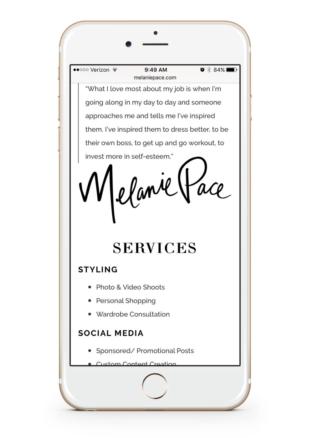 Melanie Pace Services Page